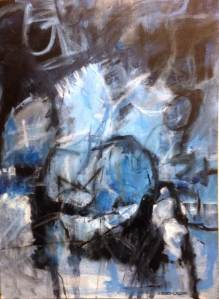 Blue Moon by Ann Lawson, 54 x 75 Acrylic and Pastel on canvas
