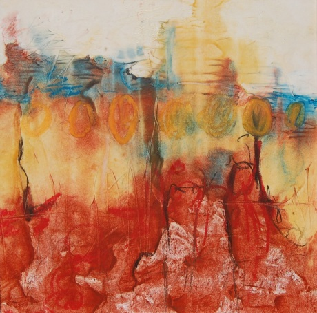 "Inferno by Tami Bitner, 8"" x 8"" Encaustic Monotype"
