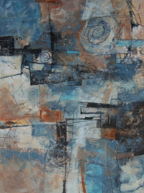 "Shades of Grey II by Tami Bitner, 24"" x 36"" Mixed Media"