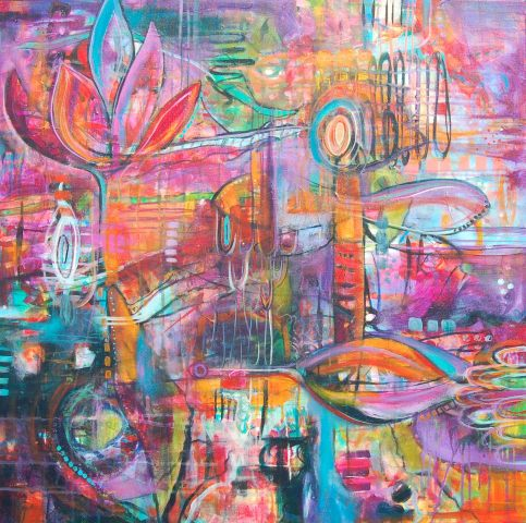 "Take Flight by Tami Bitner,  36"" x 36"" Mixed Media"