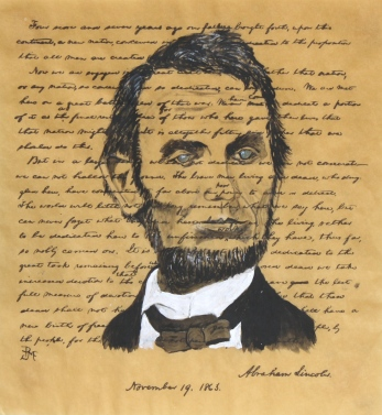Lincoln by Bob McCloskey 30 x 22  acrylic on paper