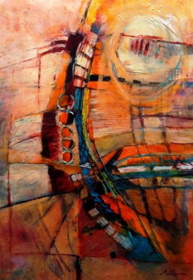 Painted Lady by Ann Yeager Lawson,  27 X 37 mixed media on paper