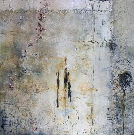 """Traces"" of Kinship by Linda Benton McCloskey, 24 x 24 Oil and Cold Wax on cradled panel"
